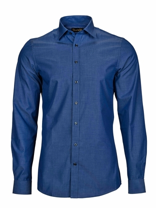 Bilde av TRACKER SKJORTE COTTON BLEND INDIGO REGULAR